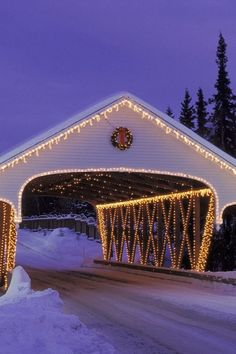 Covered bridge with holiday lights