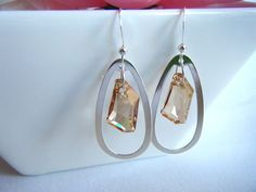 Golden Swarovski drop earrings