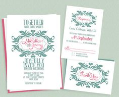 You'll love this stylized monogram wedding invite download if your wedding colors are mint and pink. Source: Printable Invitation Kits