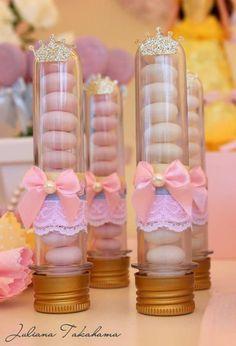 Tubete com aplique de laços, rendas e coroas para Festa Princesas | #daJuuh