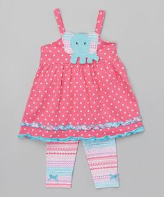 Love this Pink & Blue Elephant Tank & Leggings - Toddler & Girls on #zulily! #zulilyfinds