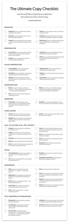 The Ultimate Copy Checklist: Ask Yourself These 51 Questions To Optimize Every Element Of Your Online Copy - #infographic