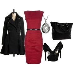 Red Belted Dress, created by styleofe.polyvore.com