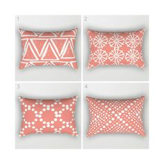 Lumbar Pillow - Modern Coral and White Geometric triangle circle dot - Rectangular Throw Pillow - Bed Pillow - Travel Pillow by ButtercupForrest on Etsy