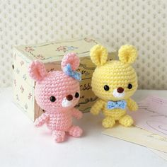 Cute little rabbits with soft pastel colors. Crochet Rabbit, Crochet Bear, Love Crochet, Diy Crochet, Crochet Dolls, Amigurumi Patterns, Crochet Patterns, Handmade Soft Toys, Easter Crochet