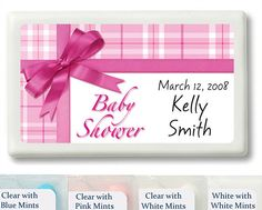 Pink Gift Wrap Baby Shower Personalized Mint Favors