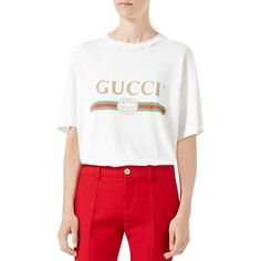 Gucci Gucci-Print Cotton Tee (€555) ❤ liked on Polyvore featuring tops, t-shirts, white, distressed white t shirt, gucci t shirt, white crew neck t shirt, distressed tees and white t shirt