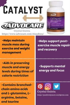 Advocare Catalyst. These is no rapid or quick way to lose weight or build muscle fast in a healthy way, but with activity and healthy eating, Catalyst is a perfect addition to your supplements to get your to your goals!