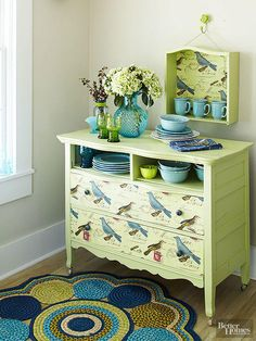 Repurpose an old dresser as a buffet with paint and pretty paper. Remove the top drawers, and cover the cubbies with plywood. Paint the entire piece, and cover the remaining drawer fronts with paper, securing in place with wallpaper paste. And before you pitch the removed drawers to the curb, consider this bonus project: Line the inside of a drawer with paper (adhered with wallpaper paste) and hang it for a cute shelf.