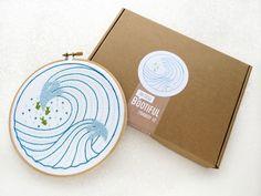 Modern Embroidery Kit, Ocean Waves DIY Hoop Art, Modern Needlework Kit, Embroidery Tutorial, DIY Gift for Her, Beginners Embroidery Kit