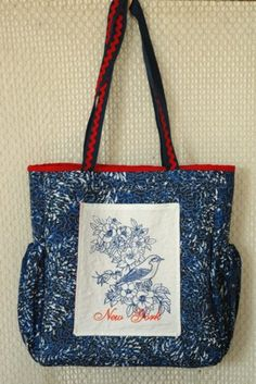 Advanced Embroidery Designs. Free Projects and Ideas. Quilted tote bag with redwork embroidery.