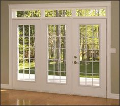 wouldnt mind making the door to the back patio bigger like this. we already have the french doors. Interior Barn Doors, Home Interior, Interior Design, Luxury Interior, French Doors Patio, French Patio, Craftsman Patio Doors, Brick Patios, Back Doors