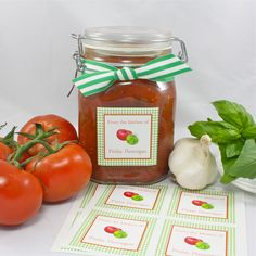 """KITCHEN STICKERS...Personalize your prized pickles and your summer preserves with these handy Kitchen stickers.  Homemade creations deserve a little dressing up with a sweet signature kitchen sticker that is almost as delicious as what's in the jar. Printed on glossy, bright white label stock.  Order includes 40 stickers, each measuring 2.5"""" square."""