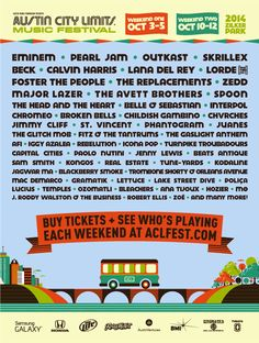 Austin City Limits 2014. I really need to make this happen.