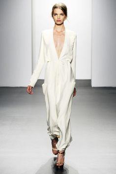 deep V white dress.