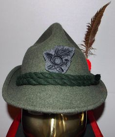 ALPINE Italian mountain Army unit, wool green hat, with feather, size 7, fabric liner, light and cool, cord hatband,  patch to front, unisex