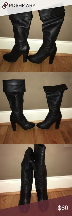 Black genuine leather Colin Stuart boots 6 Black genuine leather boots size 6 with folding at the top Colin Stuart Shoes Heeled Boots