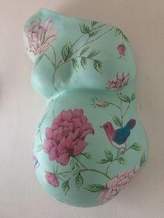 gipsbuik beschilderd PiPbehang Mint groen bloemen en vogel