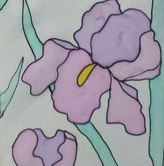 Scarf Silk Iris Pastel hand painted Designer by ArtbyEvelynMarie, $35.00