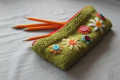 Pencil bag knitted tutorial