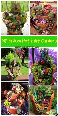 Think twice before dumping your broken pots, they can turn out to be useful and beautiful garden decorations as these DIY Broken Clay Pot Fairy Gardens.#Gardening-->> http://www.diyhowto.org/diy-broken-pot-fairy-garden-ideas/