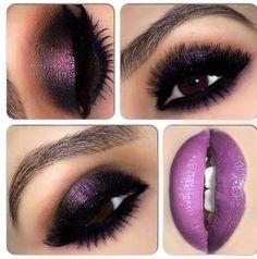 Dark smokey eyeshadow in purple paired with purple lipstick-PERFECT!