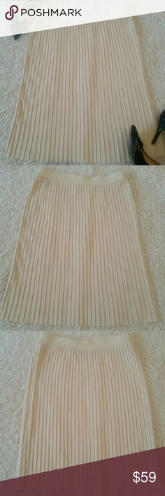ST JOHN EVENING BY MARIE GRAY PLEATED SKIRT St John evening by Marie Gray pleated skirt. Elastic waist.  Size 10. Knee length.  Light cream color. Please make sure you see the pictures before buying. One area of the waistband is damaged. St. John Skirts