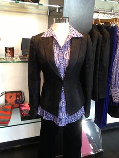 11/28: Ready or not here it is, Robert Graham ladies wear!!!!!  This exquisite Dover blazer fits impeccably. Black and blue subtle animal print is the theme for this beauty. Layer it with the Dawson purple animal print blouse and you have yourself a fierce combo. So now all you Robert Graham male fans can adorn you female friends with the same incredible Graham style.