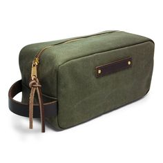 9cb85a21396 Waxed Canvas Shaving Dopp Kit Travel Toiletries Bag - Green -- Find out  more details by clicking the image   Makeup bag