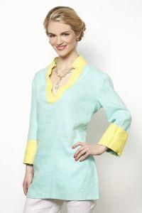 Nadia Tunic, Linen Fresh Blue with Yellow Trim