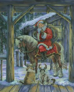 Santa on Horse with dogs as reindeer