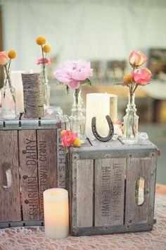 rustic country farm wedding decor ideas / http://www.deerpearlflowers.com/rustic-farm-wedding-horseshoe-ideas/