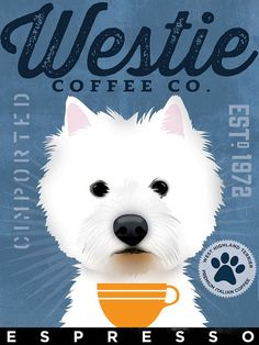 West Highland Terrier Westie Coffee Company by geministudio #westies
