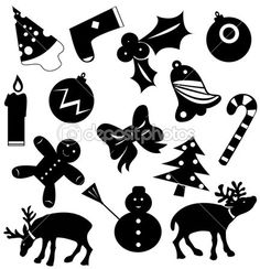 Christmas icons vector silhouettes