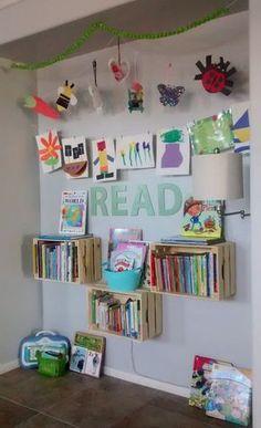 Simply Wright: Reading Nook Preschool Reading Corner, Reading Nook Kids, Scrap Paper Storage, Diy Storage, Extra Storage, Storage Ideas, Classroom Images, Classroom Decor Themes, Ideas Para Organizar