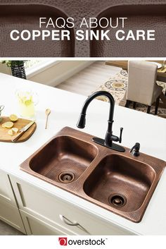 FAQs About Copper Sink Care.The texture and shine of copper fixtures can add a classic look to your home. Copper sinks can be particularly beautiful when properly maintained. Thankfully, copper sinks aren't especially difficult to care for, but it is important to know a few things to avoid damaging the rich copper color and finish. These answers to frequently asked questions about copper sinks will show you how to care for copper fixtures.