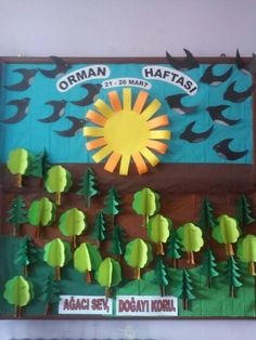 Orman haftası School Board Decoration, School Decorations, Balloon Decorations, Classroom Charts, Classroom Design, Preschool Worksheets, Preschool Crafts, School Projects, Projects For Kids