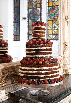 Three-tier (depth and a half) naked cake by cakesbyjames.