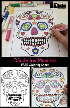 FREE Día de los Muertos / Day of the Dead sugar skull coloring sheet. Free Coloring Sheets, Colouring Pages, Autumn Activities, Art Activities, Fall Halloween, Halloween Crafts, Day Of The Dead Party, Bulletins, Ecole Art