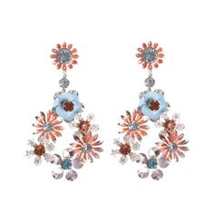 The floral trend has never looked better in these brightly coloured statement earrings on a rose gold backing Lovisa Jewellery, Flower Earrings, Body Jewelry, Statement Earrings, Coral, Rose Gold, Jewels, Online Shopping, My Style