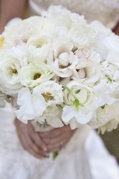 white wedding bouquet - love those tulips!