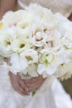 white wedding bouquet - love those tulips! / repined by John Wolf Florist #savannah