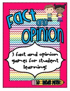 FABULOUS CENTER IDEAS!!! You're students will quickly learn what fact and opinions are with these 3 easy-to-put-together learning games.  The games are in full color and ca...