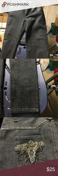 Studded Denim Jeans Studded dark wash denim jeans. Never worn. Size 16 baccini Jeans Boot Cut