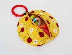 Yellow Ladybug Binky Pouch Pacifier Case Paci Pod