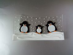 Penguins Fused Glass Dish | Glass Goodies