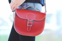 red lather satchel