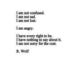 I am not confused. I am not sad. I am not lost. I am angry. I have every right to be. I have nothing to say about it. I am not sorry for the cost. Poetry by R. Wolf