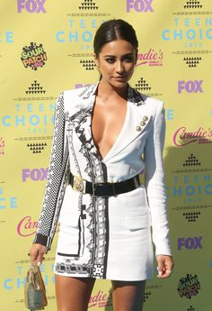Shay Mitchell cleavage in a white dress.