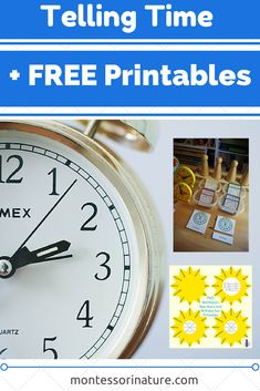 Montessori Nature: Telling Time with Free Printables. Resources for the Montessori Classroom. Montessori Practical Life, Montessori Classroom, Montessori Activities, Homeschool Math, Learning Activities, Kids Learning, Homeschooling, Time Activities, Teaching Time
